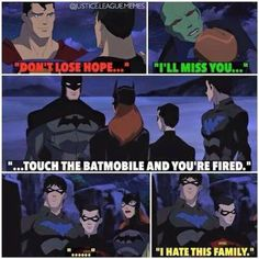 Read Young Justice from the story Bat Family Memes by bluecandifloss with reads. Batgirl, Univers Dc, Im Batman, Funny Batman, Batman Art, Batman Robin, Gotham Batman, Dc Memes, Tim Drake