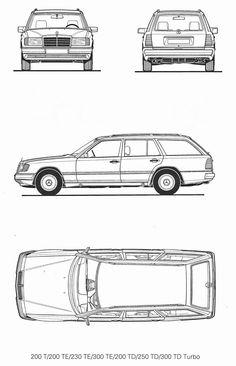 Mercedes-Benz 200T W124 (1990) | SMCars.Net - Car Blueprints Forum Car Top View, Car Side View, Mercedes W124, Paper Car, Car Vector, Classic Mercedes, Suv Cars, Car Drawings, Maybach