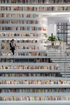 MVRDV have, with the Tianjin Urban Planning and Design Institute (TUPDI), designed Tianjin Binhai Library as part of a larger plan to provide a cultural district for the city. The building acts not only as an education centre but as a connector from. Tianjin, Cabinet D Architecture, Library Architecture, Architecture Design, Architecture Portfolio, Architecture Diagrams, Beautiful Library, Dream Library, Future Library