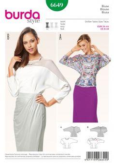 Burda Style Pattern 6649 Misses' Blouse Retro Pattern, Top Pattern, Burda Sewing Patterns, Sewing Tutorials, Sewing Projects, New Look Patterns, Style Patterns, Smart Outfit, Shirt Bluse