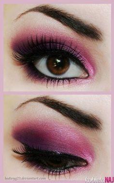 eyeshadow for brown eyes | Różowo-fioletowy makijaż oczu - na wieczorowe wyjście