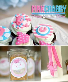 Pink crab party theme