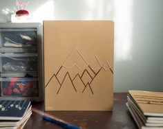 Little Mountain Embroidered Composition Notebook, Travel Journal, Dream Journal