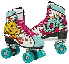 38a2a439fbe Powerslide Women's Kiss Roller Skates - Turquoise, Size 36: Amazon.co.uk:  Sports & Outdoors
