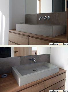 Beton und Holz auch im Bad eine schöne Kombination