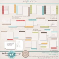 Scrapbook your everyday life with these versatile calendar & journal cards. Perfect for pocket-style projects & scrapbooking, digital scrapbooking, & paper scrapbooking. $4.99 see more & buy now: http://shop.scrapbookgraphics.com/Memories-Moments-Life-Cards-5-Digital-Scrapbook-Journal-Cards.html
