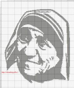 Mother Teresa of Calcutta Filet Crochet, Religious Cross Stitch Patterns, Just Cross Stitch, Mother Teresa, Cross Stitch Designs, Crochet Flowers, Pixel Art, Needlework, Crochet Patterns