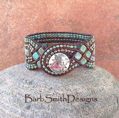 Turquoise Silver Brown Cuff Bracelet The par BarbSmithDesigns