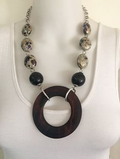 Bold chocolate and cream statement necklace  by Afrigal Designs