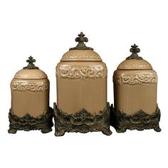 Amazon.com: Drake Design 3401 Large Canister (3-Piece Set), Taupe, 13.5,12,10 Inch: Home & Kitchen