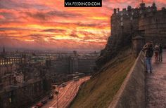 Edinburgh Castle, overlooking a perfect sunset.