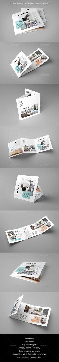 Square #Minimal Interior Design #Trifold - #Brochures Print Templates Download here:  https://graphicriver.net/item/square-minimal-interior-design-trifold/20439624?ref=alena994