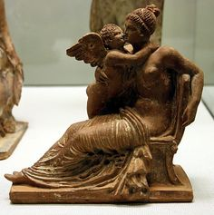 Terracotta statue of Aphrodite and Eros - Arcelogical Museum of  Catalunya