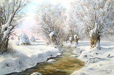 Cottage Art, Winter Painting, Landscape Paintings, Santa, Drawings, Artwork, Artist, Snow Trees, Outdoor