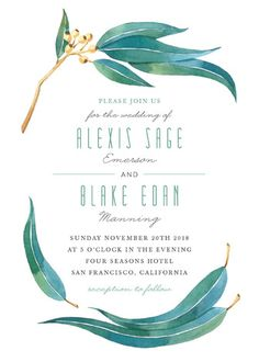 """Eucalyptus Leaves"" - Rustic Wedding Invitations in Eucalyptus by Four Wet Feet Studio."