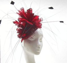 Red/Black Facinator Hat for Kentucky Derby by Hatsbycressida, $90.00