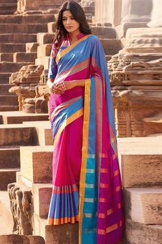 Online Shopping of Pink-Sky Blue Cotton Printed Party Wear Saree-Meer from SareesBazaar, leading online ethnic clothing store  offering  latest collection of sarees, salwar suits, lehengas & kurtis