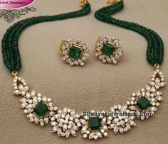 diamond emerald necklace with large studs, emerald beads necklace, diamond studs, Fancy Jewellery, Gold Jewellery Design, Bead Jewellery, Beaded Jewelry, Jewelry Necklaces, Diamond Necklaces, Diamond Jewellery, Diamond Pendant, Indian Wedding Jewelry