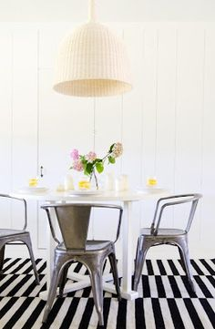 Industrial Metal Chairs - White/black decor