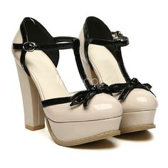 Chunky Patent Leather T Bowknot Strap Platform Apricot Pumps Bow Heels, Pumps Heels, High Heels Instagram, Cute Shoes, Me Too Shoes, Women's Shoes, T Strap Pumps, Chunky Heel Shoes, Cream Shoes