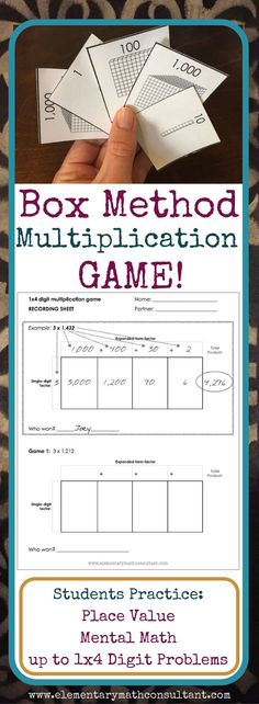 Elementary teachers and parents, the BOX METHOD is a commonly used Common Core multiplication strategy. This game helps students master the box method strategy and understand the concepts behind multiplying large numbers. The game builds multiplication, place value, and mental math skills!  http://www.elementarymathconsultant.com/teaching-box-method-multiplication/