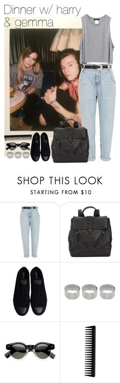 """dinner w/ harry & gemma"" by your-fashion-lover ❤ liked on Polyvore featuring River Island, Kenzo, Converse, ASOS, GHD, harrystyles and gemmastyles"
