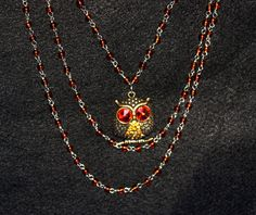 This little owl inspires wisdom and hope as he hangs from your neck. This necklace would be beautiful for everyday wear or for a special occasion such as a wedding or prom.  I make many different 3 strand necklaces so if you have an idea of something you would like that you dont see, please convo me.  Also check out and like me on FB, http://www.facebook.com/MeeshPieces