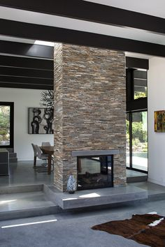 Klopf Architecture skylight around chimney. Step becomes hearth, sunken lounge