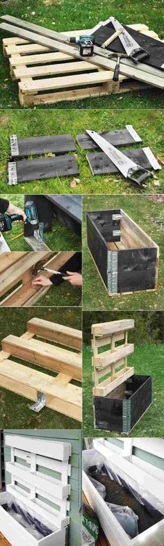 Make a vertical planter in a palette: tutorials and inspiring ideas for indoor and outdoor photos Vertical Pallet Garden, Vertical Planter, Potager Palettes, Palette Garden, Palette Planter, Pallet Painting, Outdoor Photos, Garden Projects, Outdoor Gardens