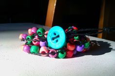 Big Blue Button Multicolor Beads with Black Hemp by AnABazaar, $7.99