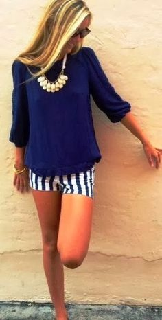 Navy Blouse With Stripes Shorts