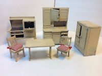 LARGE SIZE Arcade Vintage Doll House Icebox Hoosier Cabinet Stove Table Chairs