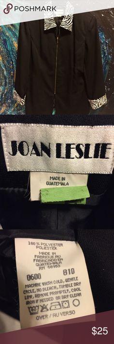 Statement Classic Blazer/slacks with Zebra Collar Soft polyester blazer/slacks in black with zebra animal print accented collar/cuffs very a chic and slimming Joan Leslie Jackets & Coats Blazers