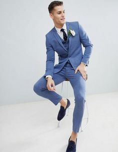 Wedding Suits MORE - Shop ASOS DESIGN wedding skinny suit jacket in provence blue cross hatch with printed lining at ASOS. Summer Wedding Suits, Summer Suits, Light Blue Suit Wedding, Man Suit Wedding, Blue Tuxedo Wedding, Mens Fashion Suits, Mens Suits, Blue Suit Men, Baby Blue Suit