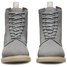 Dr. Martens Suede Whiton Boots ($130) ❤ liked on Polyvore featuring shoes, boots, grey, slip resistant boots, grey boots, suede boots, grey wedge boots and sport boots