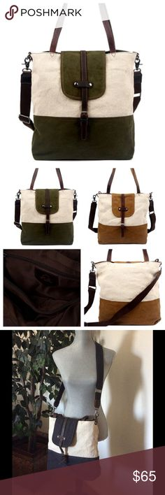 Khaki Leather-Trim Tote🆕 Khaki Leather-Trim Sunsplash Tote TSD Brand  Keep your essentials close in this roomy tote boasting a multitude of secure pockets.  12.5'' W x 13'' H x 4'' D 9'' handle drop 24'' max. strap drop Outer: cotton / leather Lining: cotton Zip closure Interior: one zip and two slip pockets Removable crossbody strap Last pic is actual bag for sale. ///////NWOT////// TSD Bags