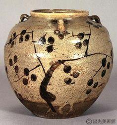 E-Karatsu Jar with Persimmon decoration and three handles