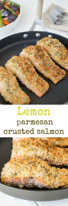 Lemon parmesan crusted salmon. Seared salmon topped with dijon mustard and a delicious lemon, parmesan and dill panko topping.