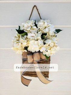 Cream Hydrangea Door Hanger Basket