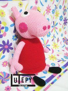 Patrón gratis de Peppa Pig amigurumi la cerdita peppa , todo esta a base de lana y crochet.