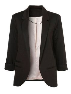 Black Boyfriend Ponte Rolled Sleeves Blazer -SheIn(Sheinside) Mobile Site