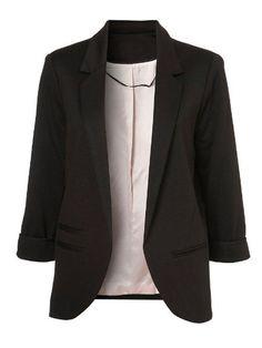 Black Boyfriend Ponte Rolled Sleeves Blazer -SheIn(Sheinside) Mobile Site