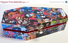 ON SALE Dia de los Muertos Day of the Dead coffin box mixed media collage and decoupage by Sonoma Artistry