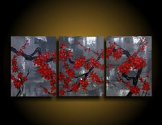 Abstract Painting Red Tree Asian Modern Painting Wall Art Modern Art Original Contemporary Painting 24 x 54 Grey Gray black white Red    ID#201440