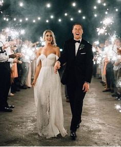 the dress, the sparklers, the smiles - it's perfect