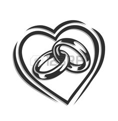 Wedding Ring Tattoos wedding ring in heart illustration isolated on white background Stock Vector - - Millions of Creative Stock Photos, Vectors, Videos and Music Files For Your Inspiration and Projects. Heart Wedding Rings, Diamond Wedding Bands, Interlocking Wedding Rings, Wedding Ring Vector, Wedding Bells Clip Art, Wedding Drawing, Wedding Ring Drawings, Wedding Symbols, Gravure Laser