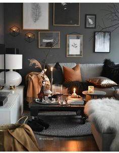 autumn, orange, and black -kuva The Effective Pictures We Offer You About black home decor living ro Living Room Decor Cozy, Home Decor Bedroom, Interior Design Living Room, Living Room Designs, Living Room Orange, Living Room Grey, Living Room Inspiration, Room Colors, Fall