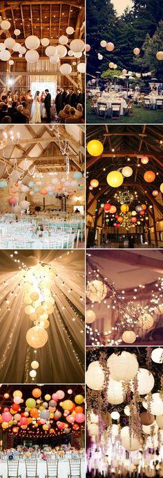 Leuchtende Lampions sind die optimal als ausgefallene Hochzeitsdekoration für Eure Scheunenhochzeit geeignet.