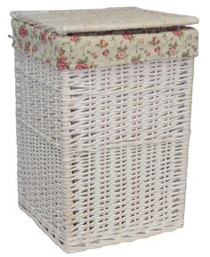 Square Wicker Laundry Basket with Garden Rose Lining Brambly Cottage Finish: White Wash, Size: Small Laundry Bin, Laundry Sorter, Laundry Hamper, Standard Textile, Hazelwood Home, Rose Design, Storage Organization, Light In The Dark, Wicker