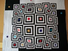 optical illusion quilt, work-in-progress by Doris Pontigo, quilted by Theo Schafke